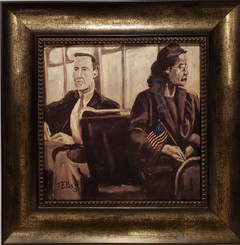 Rosa Parks, the Day She Sat Down-16x16 framed textured print by T. Ellis $95.00