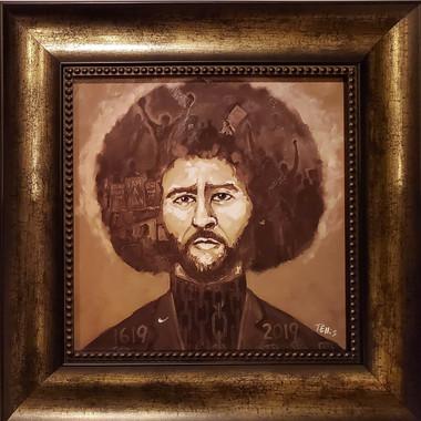 Colin Kaepernick-16x16 framed textured print by T. Ellis $95.00