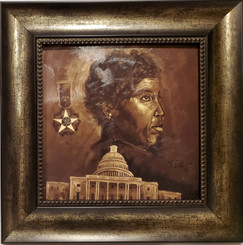 Barbara Jordan-16x16 framed textured print by T. Ellis $95.00