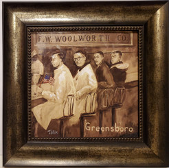 Greensboro Sit-In-16x16 framed textured print by T. Ellis $95.00.