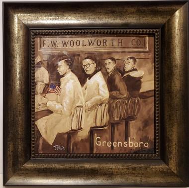 Greensboro Sit-In-16x16 framed textured print by T. Ellis