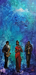 Melodic Blues, 24x12 hand embellished gallery wrapped canvas, value $500.00