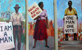 """""""I AM A MAN"""" , """"EQUAL RIGHTS FOR ALL"""", and """"ONE MAN ONE VOTE""""- Historical Civil Rights Series Trilogy, 20x30, signed poster by artist, T. Ellis.  T. Ellis trilogy on Civil Rights Series has been recently featured in AARP publication that reaches out to 38 million subscribers. The article, """"Black Voices"""" will also highlight the art of notable historical artists, Elizabeth Catlett, William H. Johnson, Jacob Lawrence and Amy Sherald. The art also addresses the social challenges and issues that we have faced in the past and presently. Art has been an instrument for constructive change, it is used for activism and advocating for justice, telling stories and capturing history. It is a major honor to be selected as an artist of merit and historical importance. Published OCT/NOV 2020."""