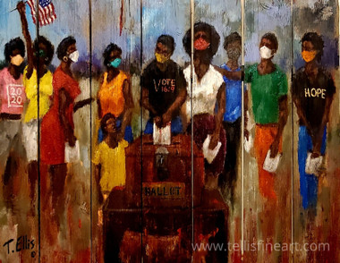 To The Ballot- is part of T. Ellis social justice series of paintings. This print measures, 20x26 and is signed by T. Ellis