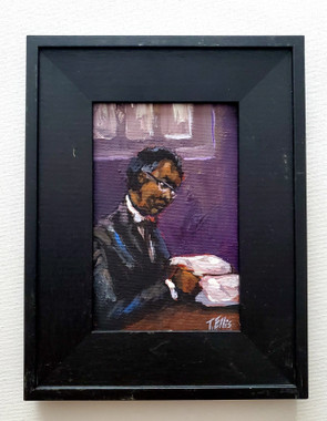 Studying the Word, 6x4 miniature T. Ellis original framed $850.00