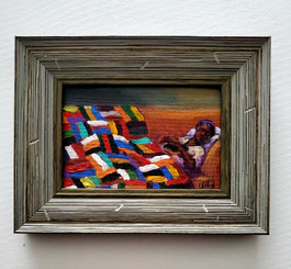 Resting with the Word, 6x4 miniature T. Ellis original framed $850.00