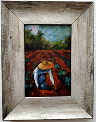 Planting Seeds for the future, 6x4, miniature T. Ellis original framed $850.00