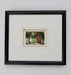 That Boy is in that Outhouse Again- original watercolor (framed)