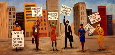 """Here are six key areas that will help the infrastructure of corporations and companies create a more productive, robust, and sustainable workplace for employees and will also improve the growth and vitality of all our communities. -Invest in Social and Cultural Capital -Mentorship is Key to Success -Inclusion Matters -Growth through Diversity -Community Outreach and Involvement -Equity in the Workplace I created the painting, """"You have a Voice"""", to convey that message. If you would like to order the signed archival print that measures 15x30 please visit www.tellisfineart.com.  FREE SHIPPING!!!"""