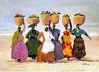 Fruit Bearers | the finest in African-American art by one of our famous African-American Artists. The picture vividly depicts native island women walking along the beach after gathering food from the local market. The tropical island colors of each wardrobe makes the painting even more attractive to draw viewers in. It is a great painting to hang on your walls in your home. Order you signed print today and receive a special price of $14.95, regularly $40.00 The T. Ellis poster size is 16x20.