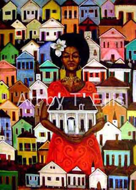It All Started Here, a signed limited edition print of only 20 archival canvas prints. Each print measures 30x40. Celebrating the oldest African-American community in the United States. Known as Treme, established in the City of New Orleans, LA in 1812. Free People of Color, lived in a community of first. Physicians, politicians, artisans, newspaper publishers, teachers, musicians, architectures and other skilled laborers lived in Treme. Jazz music was birth out of Treme. $1250.00