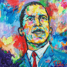 "Obama: The 44th President, 20x20 signed poster by T. Ellis . Retail value $150.00 T. Ellis was invited to showcase his painting at the French Embassy during the presidents inauguration January 19, 2009. The was recently exhibited at the Congressional Black Caucus, Sept. 19-22, 2012 at the Washington, DC Convention Center. Obama, the 44th President, painting represents the inclusion of all Americans, to dream big thoughts and ideas. To move America forward, toward greatness; ""We the People"" are ""The United States of America"", and, ""YES WE CAN""."
