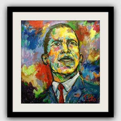 "T. Ellis framed print of President Obama painting. The original painting was unveiled at the French Embassy in Washington, DC during the first Presidential inauguration.  Price $425.00 plus S/H  Please join our campaign to get artist, Ted T. Ellis' painting of President Barack Obama, ""Obama, the 44th President"" in the Smithsonian African-American Museum of History and Culture. President Barack Obama is the first Black President of the United States of America.  During his first Presidential Inauguration the painting was featured and on display at the French Embassy in Washington, D.C. The gala was sponsored by the National Newspaper Publishing Association and the National Black Chamber of Commerce.  ""Obama, the 44th President', visually illustrates what makes America great. Every American has the opportunity to achieve their dreams.T. Ellis is living his dream, and has been actively documenting African-American lifestyle and heritage for over 30 years. Let's make this historical art initiative a reality by signing the petition. Your efforts will show the importance of a living contemporary African-American artist preserving history and culture.  Let's make history together again, by having T. Ellis' painting, ""Obama, the 44th President"" of the United States in the permanent collection of the Smithsonian Museum. Learn more about Ted T. Ellis at https://en.wikipedia.org/wiki/Ted_Ellis_(artist).  A Message from the Artist: ""I want to thank everyone for supporting me over the years and welcoming my art in your homes and hearts"". Ted T. Ellis  http://www.ipetitions.com/petition/t-ellis-for-president"