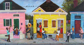 """My Block"", artwork created by famous African-American artist, Ted T. Ellis in 2014. ""My Block"" depicts the neighbor of Treme in New Orleans, LA. Treme is the oldest community of ""Free People of Color"" in the United States. It is the birthplace of Jazz. A limited edition print of only 100 collectible 18x36 signed prints have been published on archival paper. Order yours today, $850.00."