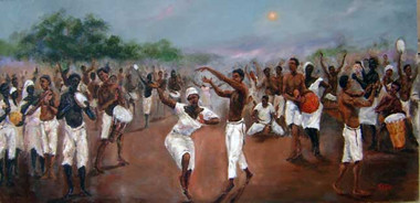 """""""Congo Square-New Orleans"""", my painting, depicting the rich history of New Orleans slaves and Free People of Color in Louisiana. During the 18th century, under French, the """"Black Code"""" heavily influenced the lives of slaves. In Congo Square, slaves gathered to dance, sing and play music. The rhythms of Jazz was birth, the second line dance came from the origins of African customs, rituals, and traditions, as well. T. Ellis. A limited edition print of only 100 collectible 18x36 signed prints have been published on archival paper. Order yours today!!! Regular price $325.00."""