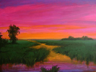 """The Beauty in Nature"", is part of the T. Ellis Landscape Collection. The signed print measures 11x14 on acid free archival paper. These series of  landscapes paintings captures the natural beauty of southern wetlands, fields, marshes and bayous."