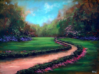 """Peaceful Pathway"", is part of the T. Ellis Landscape Collection. The signed print measures 11x14 on acid free archival paper. These series of  landscapes paintings captures the natural beauty of southern wetlands, fields, marshes and bayous."