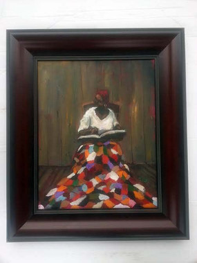 Reading the Good Book, 16x20, T. Ellis original framed painting, 2012, $5,500.00 www.tellisfineart.com