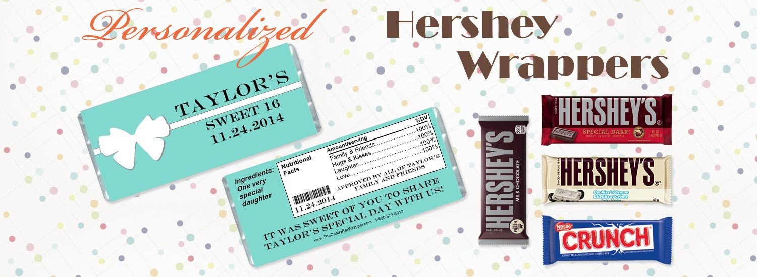 Personalized Candy Bar Wrappers and Hershey's Chocolate Bars