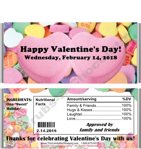Conversation Hearts Valentine Candy Wrappers with Nutrition Label