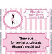 Pink Stripe Baby Shower Candy Wrappers