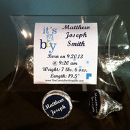 Blue Birth Announcement Hershey Kiss Pillow Pack