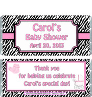 Pink Zebra Baby Shower Candy Wrapper
