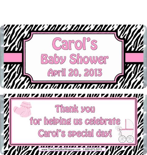 Pink Zebra Baby Shower Candy Wrapper