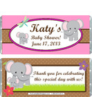 Elephant Pink Baby Shower Candy Wrapper