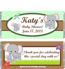 Elephant Green Baby Shower Candy Wrapper