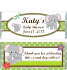 Elephant White Baby Shower Candy Wrapper