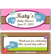 Hippo Pink Baby Shower Candy Wrappers