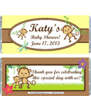 Monkey Yellow Baby Shower Candy Wrapper
