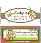 Monkey White Baby Shower Candy Wrapper