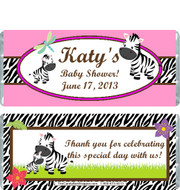 Zebra Pink Baby Shower Candy Wrapper