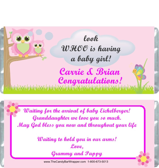 Owl Pink Baby Shower Candy Wrappers The Candy Bar Wrapper