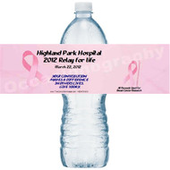Pink Ribbon Water Bottle Labels