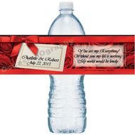 Elegant Roses Water Bottle Labels