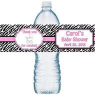 Pink Zebra Water Bottle Labels
