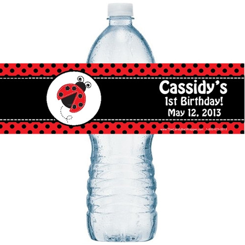 Ladybug Birthday Water Bottle Labels