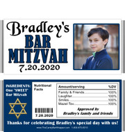 Dark Blue Bar Mitzvah Party Favors with Nutritional Labels