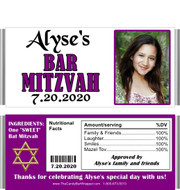 Purple Bat Mitzvah Party Favors with Nutritional Label