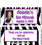 Zebra Bat Mitzvah Candy Wrappers