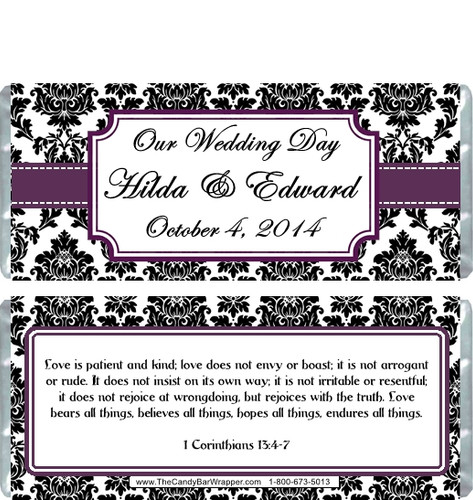 Damask Candy Bar Wrappers