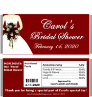 Maroon Bridal Shower Candy Bar Wrappers with Nutritional Label