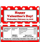 Valentine's Day Polka Dot Candy Bar Wrappers with Nutrition Label