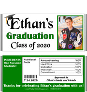 Purple Graduation Chocolate Bar Candy Wrappers with Nutritional Label