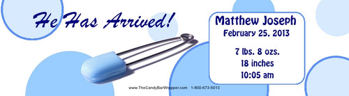 Blue Safety Pin Water Bottle Labels