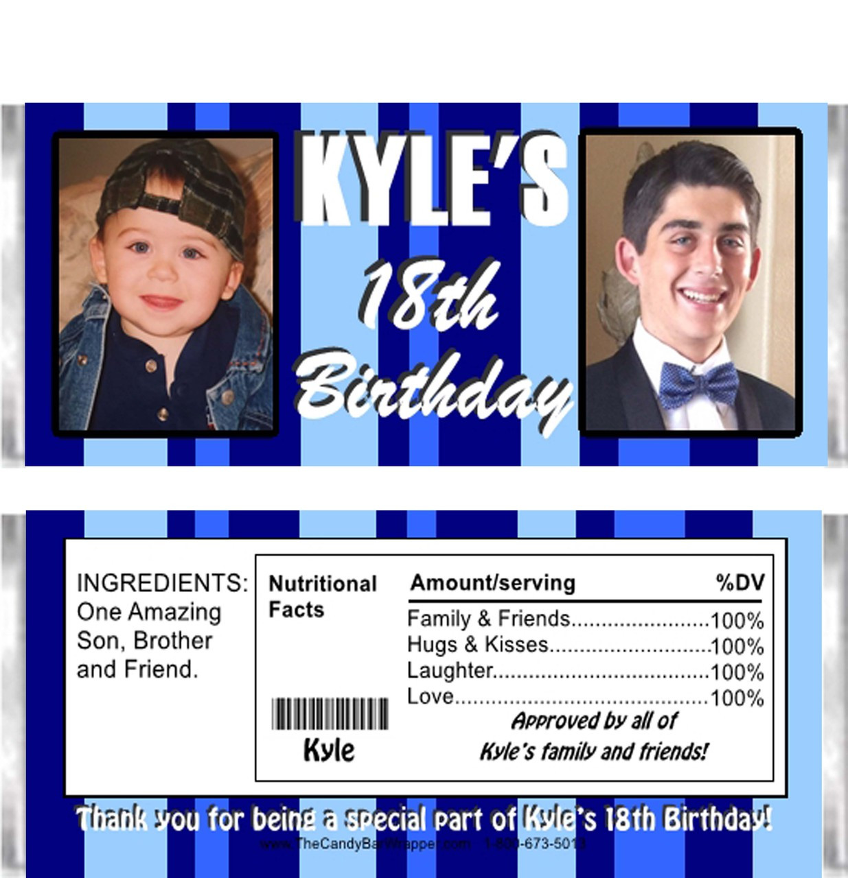 18th Birthday Birthday Party Favor Gumball Candy: 18th Birthday Candy Wrappers As 18th Birthday Party Favors