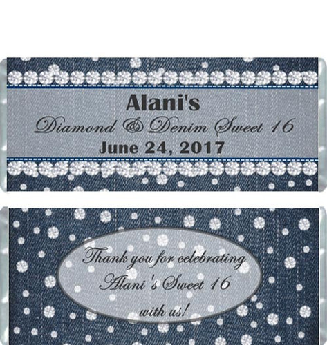 Diamonds and Denim Personalized Candy Bar Wrappers